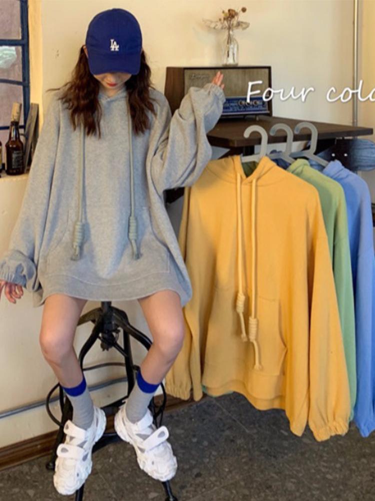 Damen Hoodies Sweatshirts Herbst Koreaner Student Lose Hoodie Top Languid Mid Länge Übergröße