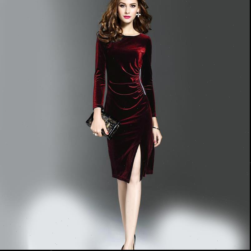 Neuer heißer Stil amerikanischer und amerikanischer langärmliges Frauen Samt Slim Dress Wrap Kleid Ein Schritt Kleid Hohe Taille Slim Abend d