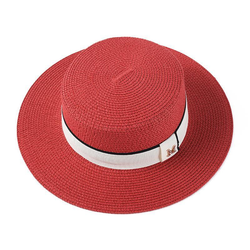 와이드 브림 모자 여름 숙녀 패션 및 레저 평면 탑 밀 짚 모자 간단한 조커 햇빛 휴일 해변