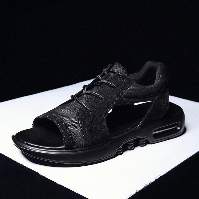 Feuert männer sommer schuhe trend sandalen mode männliche sandalias strand schuhe weiche unterseite atmungsaktive müßiggänger mans schnüren up mesh flates x0nl #