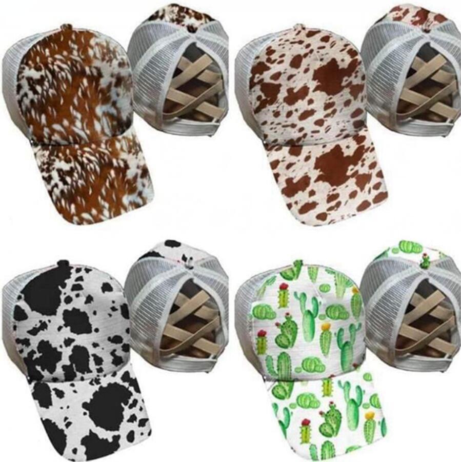 Nueva cola de caballo gorras de béisbol CACTUS de vaca Impresión de color algodón Malla camionero gorra mujer al aire libre hip hop party hat dda554