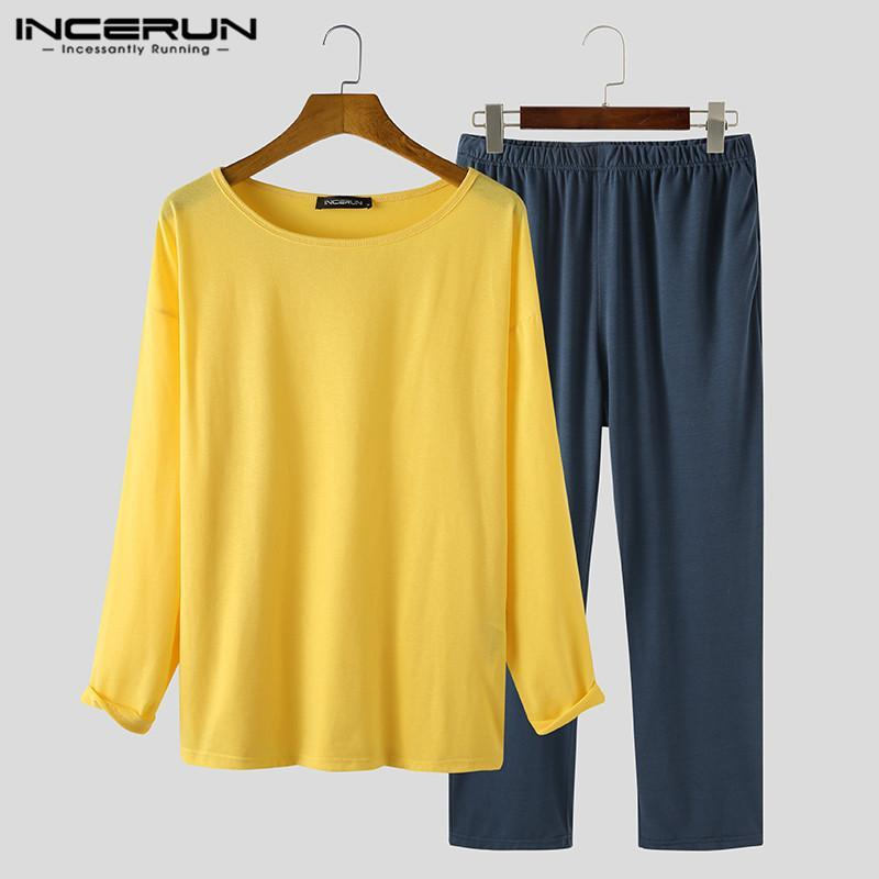 Мужские спящие одежды Мужчины Досуг Пижама наборы Incerun с длинным рукавом o шеи топы эластичные брюки костюмы мужской шить цветная домашняя одежда S-5XL