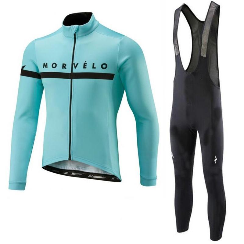 Morvelo 팀 사이클링 저지 정장 남자 긴 소매 레이싱 자전거 셔츠 Bib 바지 세트 MTB 자전거 의류 Maillot Ciclismo Y21031217