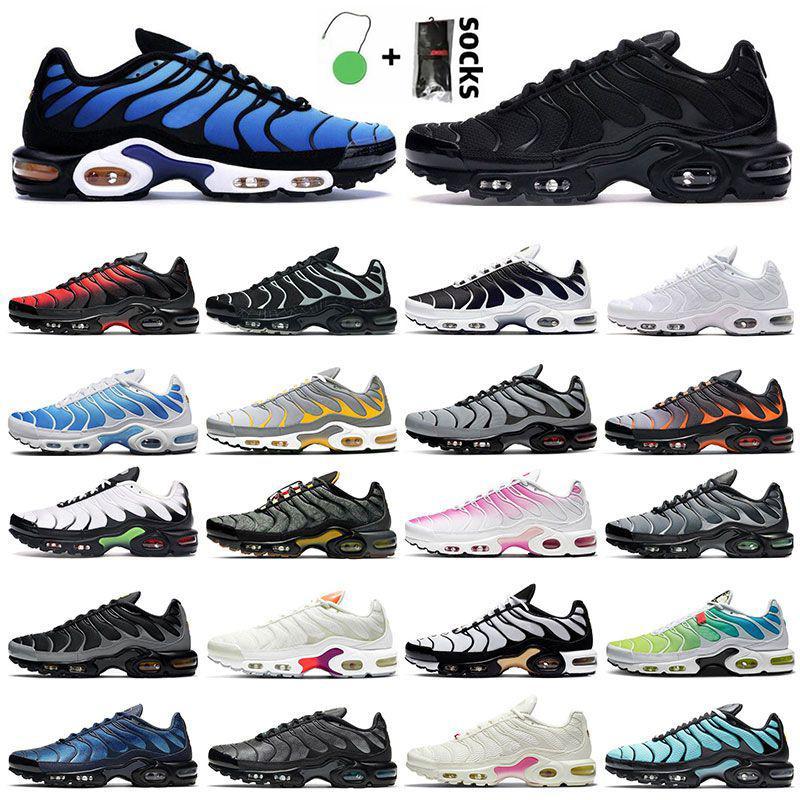 플러스 TN Mens 운동화 야외 신발 트리플 화이트 볼트 레드 블랙 그라데이션 오레오 회색 오렌지 하이퍼 블루 용암 스포츠 여성 트레이너 크기 36-46