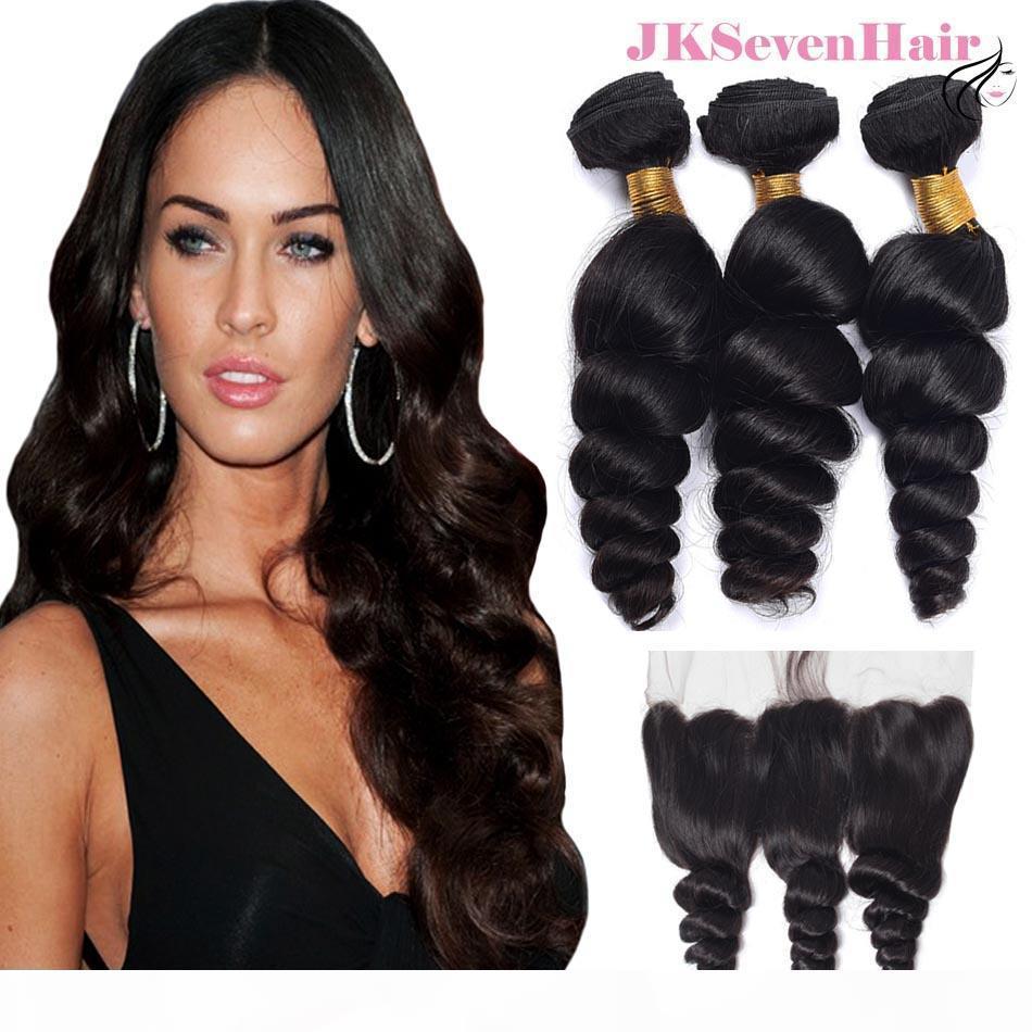 Abbassi dei capelli umani brasiliani dell'onda allentata di grado 10A 3pcs con il pizzo frontale Malesiano peruviano indiano dei capelli del remy indiani con il frontale 13x4inch