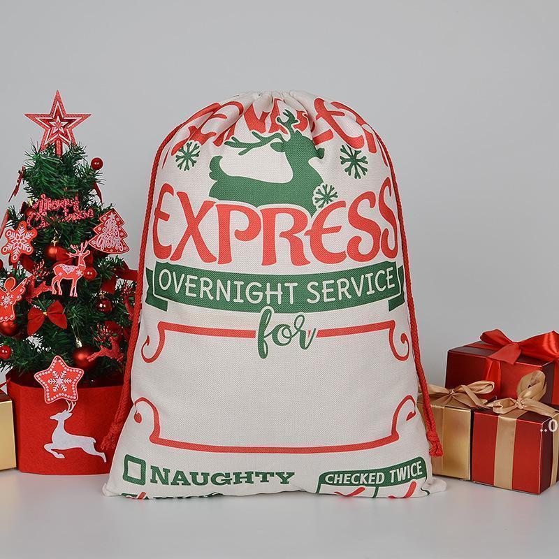 Weihnachtsgeschenksack Große Bio-Schwere Canvasbag Santa Sack Kordelzug-Taschen mit Rentiers Santaclaus Sackbags Seaway FWF9067