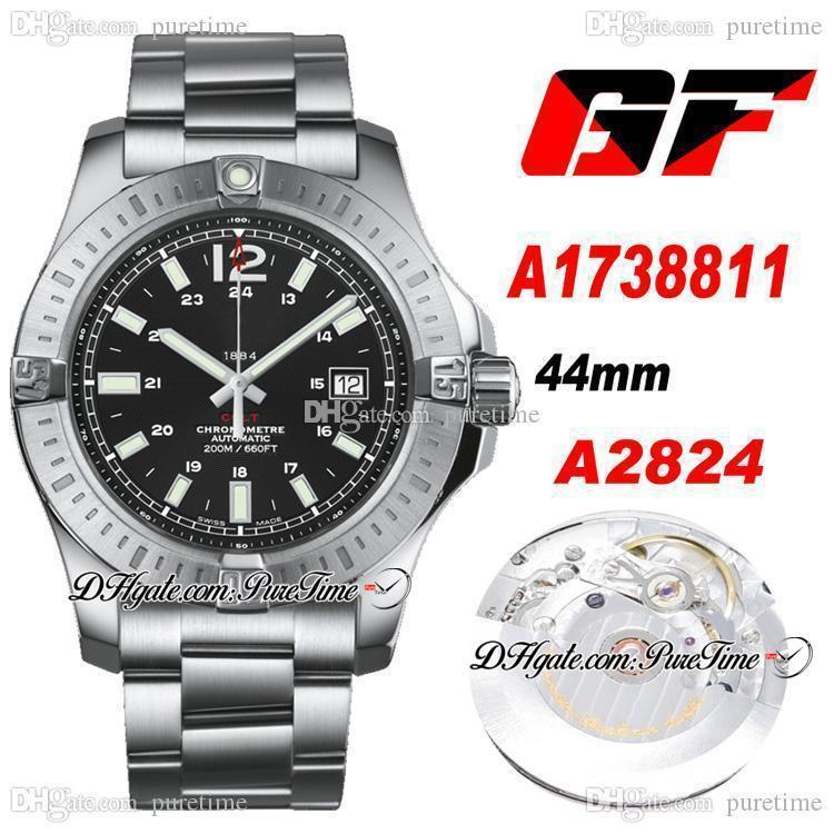 GF COLT Otomatik 44mm ETA A2824 Otomatik Erkek İzle Çelik Kılıf Siyah Kadran Paslanmaz Çelik Bilezik En Iyi Baskı Ptbl 2021 Puretime A34C3