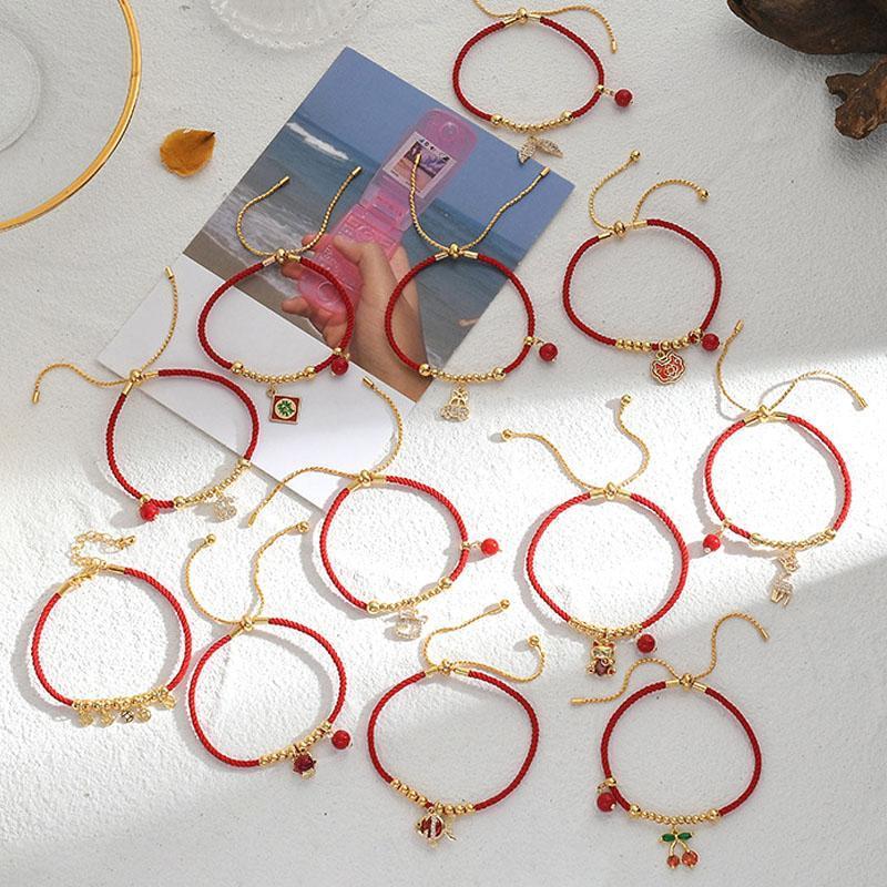Симпатичные браслеты серии животных браслетов для женщин прекрасный китайский стиль красные струны регулируемые браслеты мода ювелирные изделия