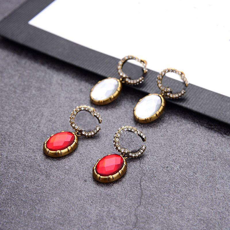 خمر أقراط الماس خطابات مزدوجة مصمم سحر ترصيع الرجعية الأبجدية قلادة أقراط لفتاة مجوهرات هدية