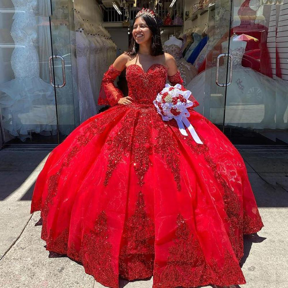 Robe de balle de la Princesse plus brillante rouge Quinceanera Robes de la quinceanera Applique en dentelle Perlée CORRETHEART LAACCE-UP CORRET 15 Robes De Robe De Graduation Custom Custom