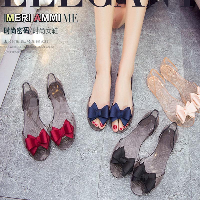 Сандалии летние лук женский весенний хрусталь хрустальные желе сладкие прозрачные беременные женщины прилив туфли плоские