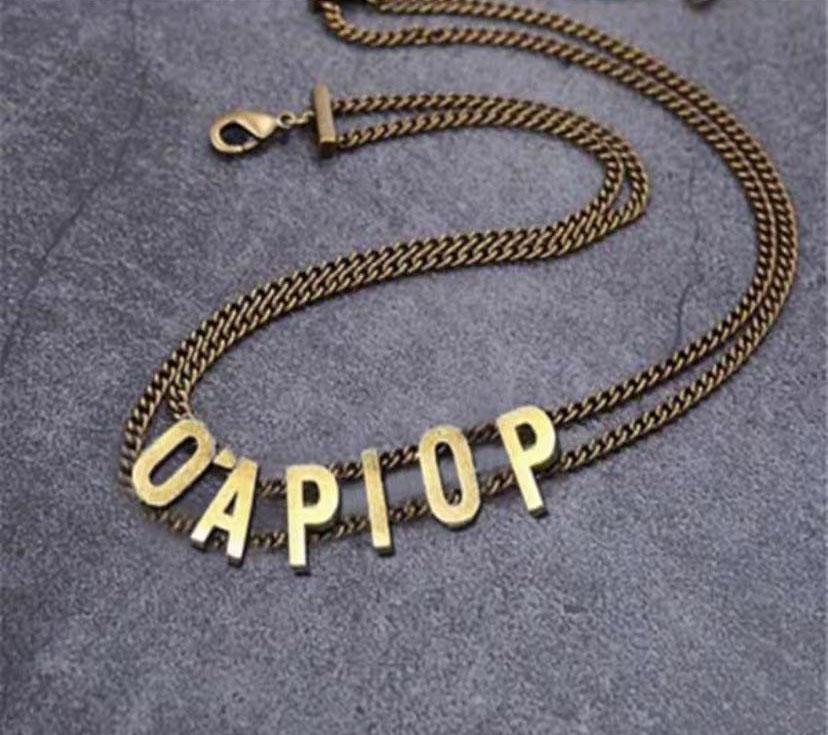 Collana girocollo della lettera iniziale di modo Bijoux Catene di collegamento cubani per Lady Womens Party Amanti di nozze gioielli regalo con scatola