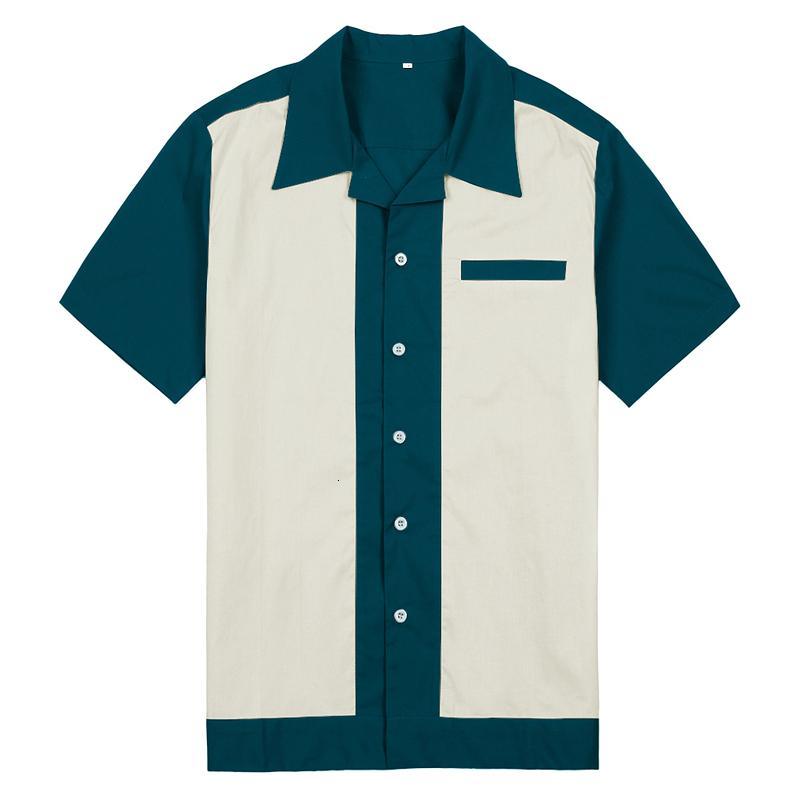2021 новых 50-х годов Rockabilly мужчины винтажные панк-рубашки рубашки с коротким рукавом клетчатая рубашка с коротким рукавом. Повседневная рубашка нам.