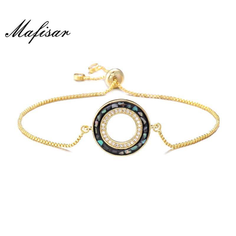 Braclets Charm Bracelets Mafisar Мода Черная Сравнивающая часть Ювелирных Изделий Золото Цвет Медный Связка Браслет Браслет Геометрический Раунд Для Женщин