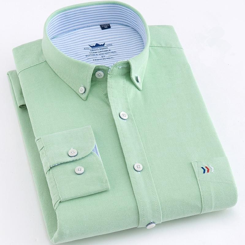 Alta Qualidade Homem Camisas Algodão Manga Longa Cor Sólida Luxo Camisa Vocacional Verde Branco Roupa Masculina Camisas de Hombre 210310