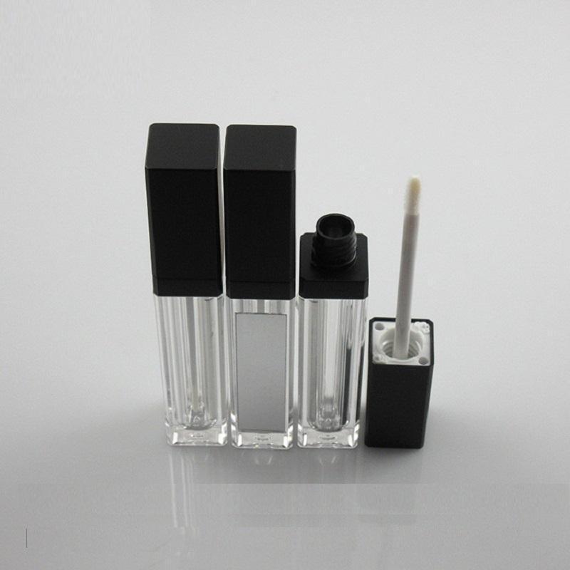7 ml Lipgloss Tube Vacío Cuadrado Claro Accesorios de maquillaje recargable Black Cap Packaging Cosmetic Lip Gloss Contenedores con espejo