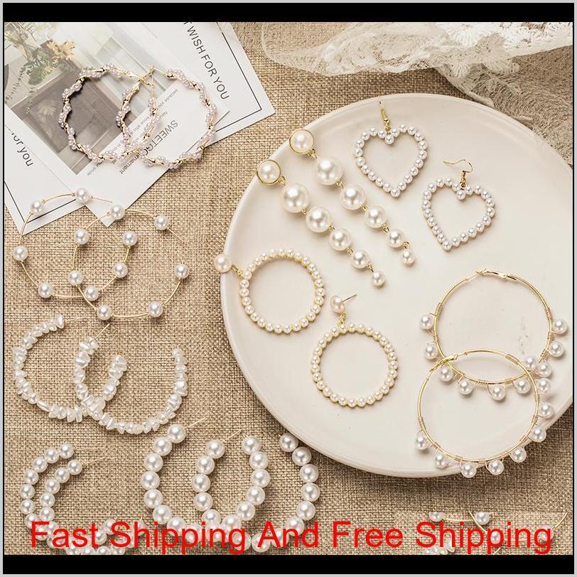 Boucles d'oreilles pour femmes perles Hoop boucles d'oreilles pour femmes coeur cercle long cercle boucle de mode bijoux 2020 géométrique kolczyki oreilles pzqyb pghcw