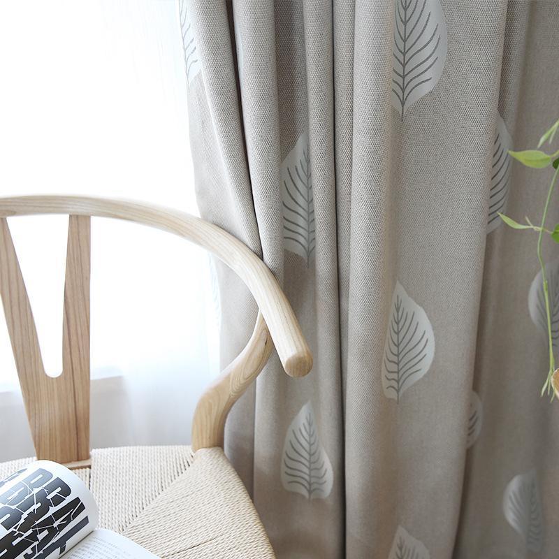 Vorhangdrapes Moderne einfache frische Baumwolle und Leinen Jacquard Hohe Blackout Vorhänge für Schlafzimmer Wohnzimmer grau grün