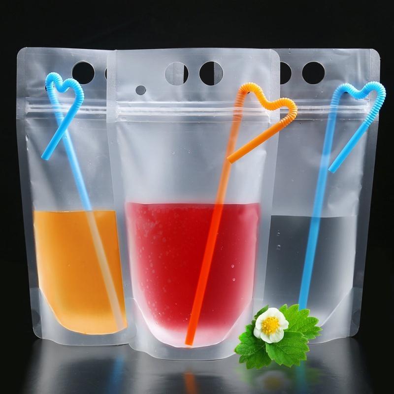 500pcs Jus jetable Café Liquide Sac Cuisine Vertical Fermeture à glissière Sac à fermeture à glissière de boisson Clear Drink Pochettes avec Plaque de paille Vaisselle FY4061