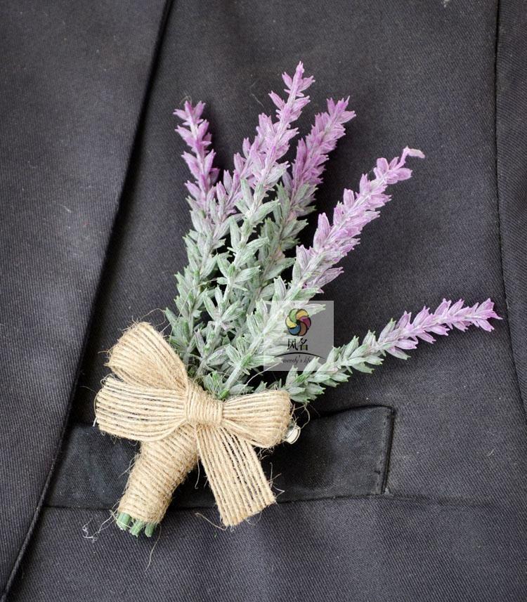 1 piece wedding corsages groom boutonniere OR bridal hand wrist flower lavender artificial flower wedding supplies prom Floral