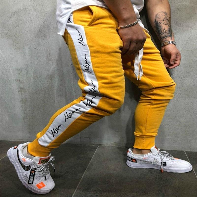 Patchwork Masculino Swears Pantalones de diseño Slim Long Lápiz Jogger HIPHOP Hombre Color Hombres Imprimir Letras Pantalones Etadh