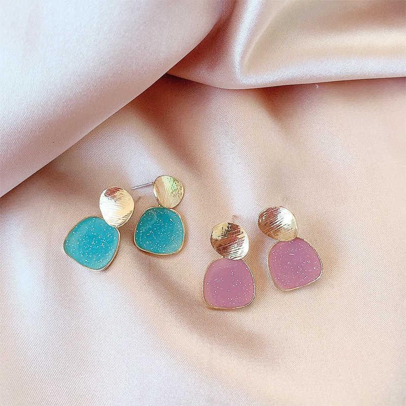 Temperamento coreano de la aguja del Sier 925, personalidad simple, goteo de petróleo Pendientes de estrellas de estrellas coloridas, pendientes geométricos de moda