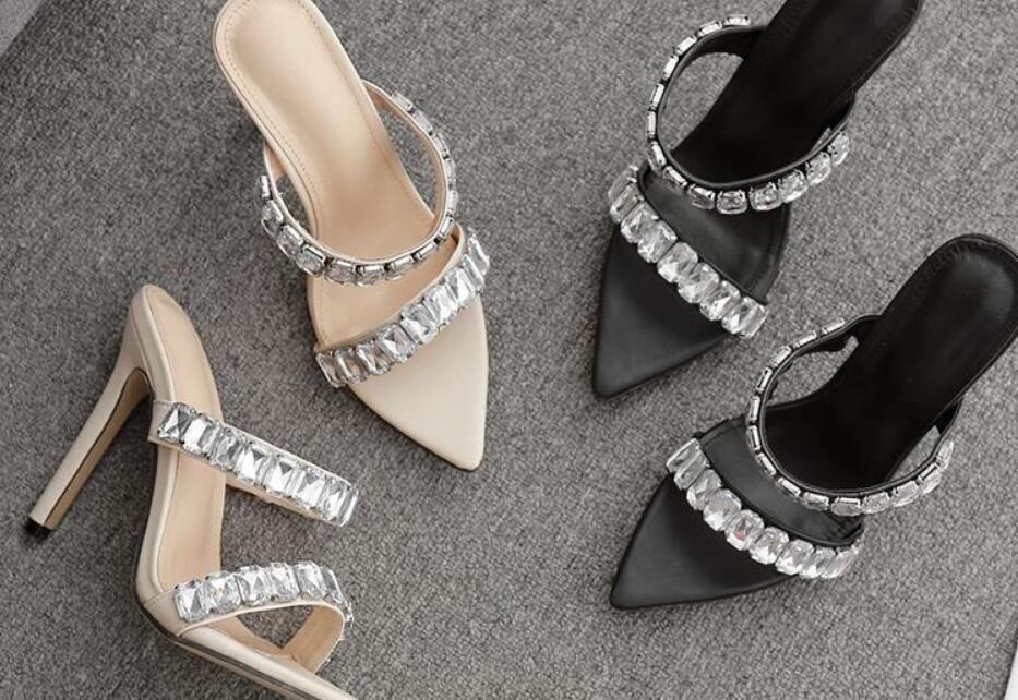 Size 35 to 42 Ivory Rhinestone Sandals Stiletto Women's Sandalias Nude High Heels Fashion Go With Shoes