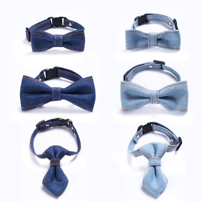 Vestuário de cão ajustável denim laço gravata pet gravata filhote de cachorro fashion fashion pequeno cães médios gato colarinho cinta cinta acessórios