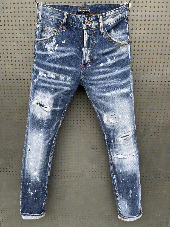 DSQ Phantom Tortue Classic Fashion Homme Jeans Hip Hop Rock Moto Mens Casual Design Décontracté Design déchiré Jeans en détresse Skinny Denim Biker DSQ Jeans 6159