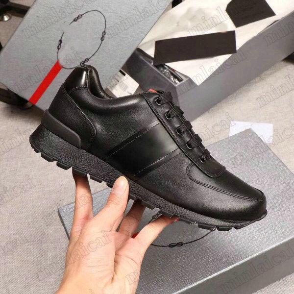 Match Race Prax 01 Sneaker Re-Nylon Stoff Schwarz Leder Calfskin Trainer Schuhe Herren Luxurys Designer Sneakers Screen-druckte Logo Runner Trainer Casual Shoe