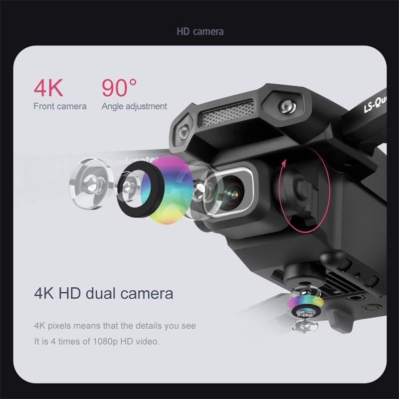 4K / 1080P HD كاميرا مزدوجة LSRC LS-XT6 مصغرة الذكية التحكم في الطائرات بدون طيار wifi fpv الارتفاع الوضع طوي rc drone quadcopter rtf