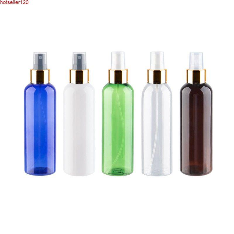 200ml x 12 Boş Yuvarlak Plastik Kozmetik Şişeleri Ile Güzel Mist Püskürtücü Altın Alüminyum Sprey Pompası Pet Kabı Kişisel Carehigh Quatiy için