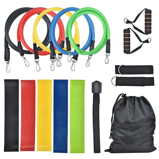 16 pcs faixas de resistência conjunto de tubo faixas de exercício durarle loop alongamento elástico bandas exercício fitness elástico banda pull corda