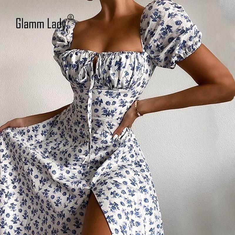 Glamm Dame Floral Print Casual Midi Sexy Party Kleider für Womens trägerlosen Herbst Sommer Kleid Club Bodycon Kleid Puff Vestidos 210303