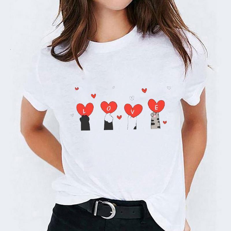 T-рубашки Топ для женщин Cat Love Pet Animal 90S Печать Мода Печать Леди Женская Графическая футболка Дамы Женская Тройник Футболка