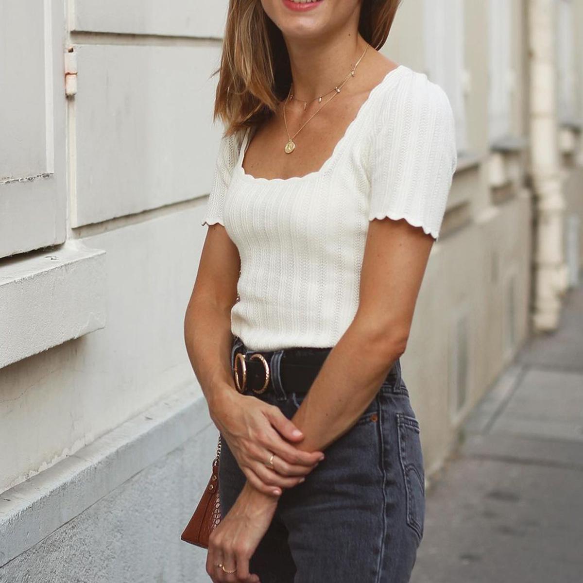 2021 nuevo suéter de punto de lujo mujeres elegante verano fino manga corta cuadrado camisas chic sin respaldo Vintage Streetwear Suéteres Tirar 8Bm4