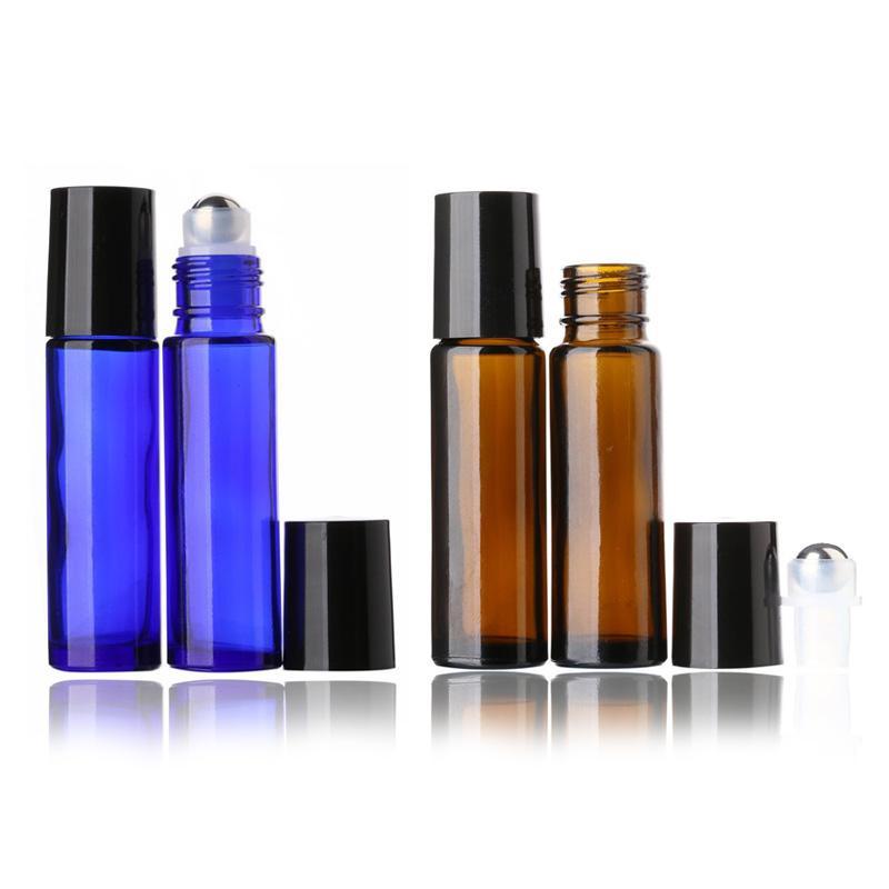 Rolo de vidro de 10ml de 600 pcs em garrafas com bolas de metal, garrafas de rolos de óleo essenciais para óleo essencial, garrafa de bola de rolos para líquido