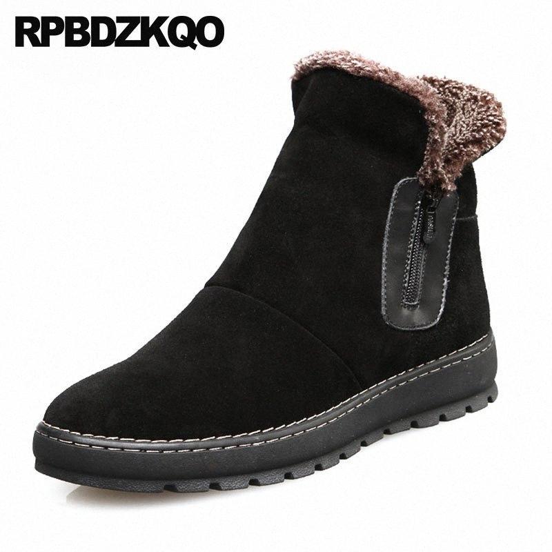 Chaussures de snowboot de la cheville Hiver Australie Fermeture à glissière High Top Noir Bottillons Super chaudières Bottes Russian Style Russe Full Grain Snow Hommes Fourrure U1JC #