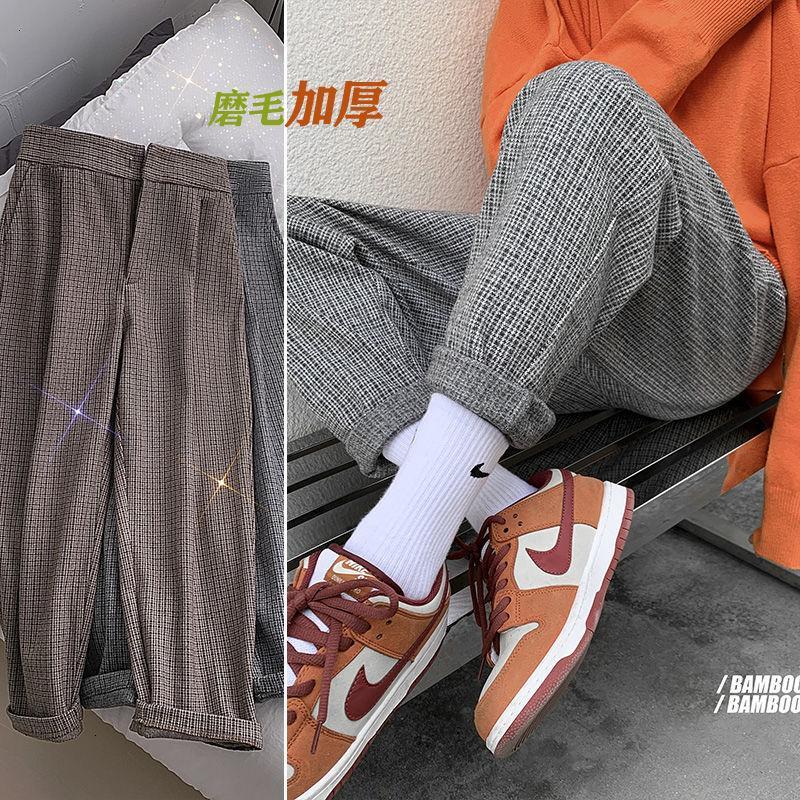 2021 Новый зимний мужской высококачественный плед печатает гарем толщиной мода повседневные брюки мешковатые грузы свободные уличные брюки M-2XL E8Y9