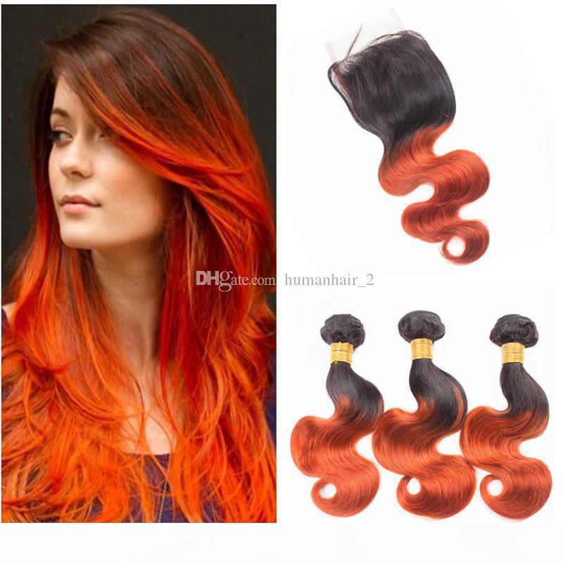 Dos tonos 1b 350 Cierre de encaje de onda de cuerpo naranja con paquetes Nueva moda color naranja cabello humano 3bundos y 4 * 4 Cierre de encaje superior