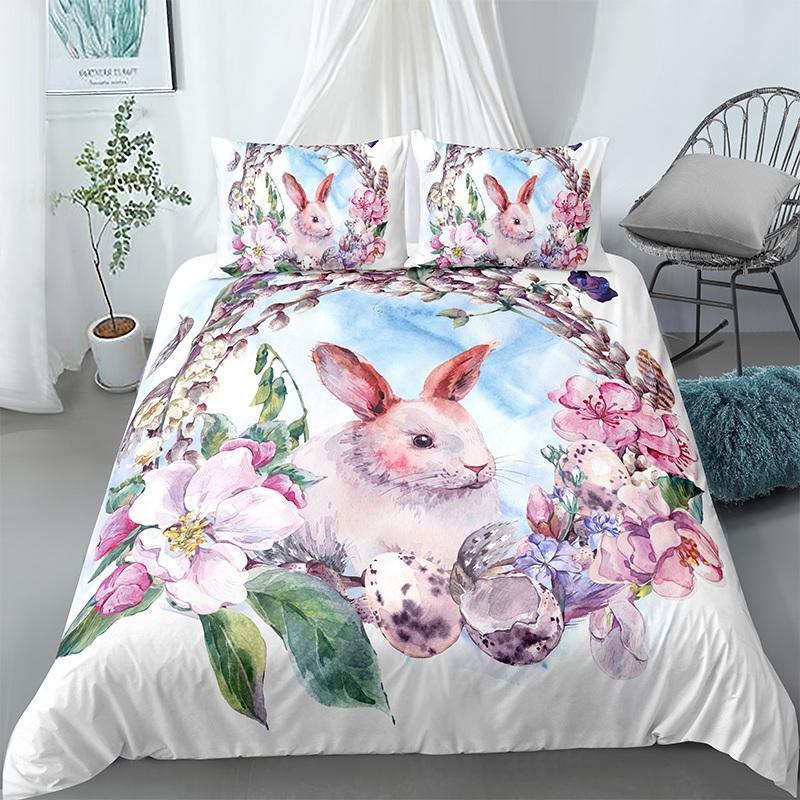 Bedding Sets Easter Duvet Quilt Cover 3D Cartoon Printed Set Pillowcase 2/3pcs For Home Bedroom Cute Bed Linen Drop