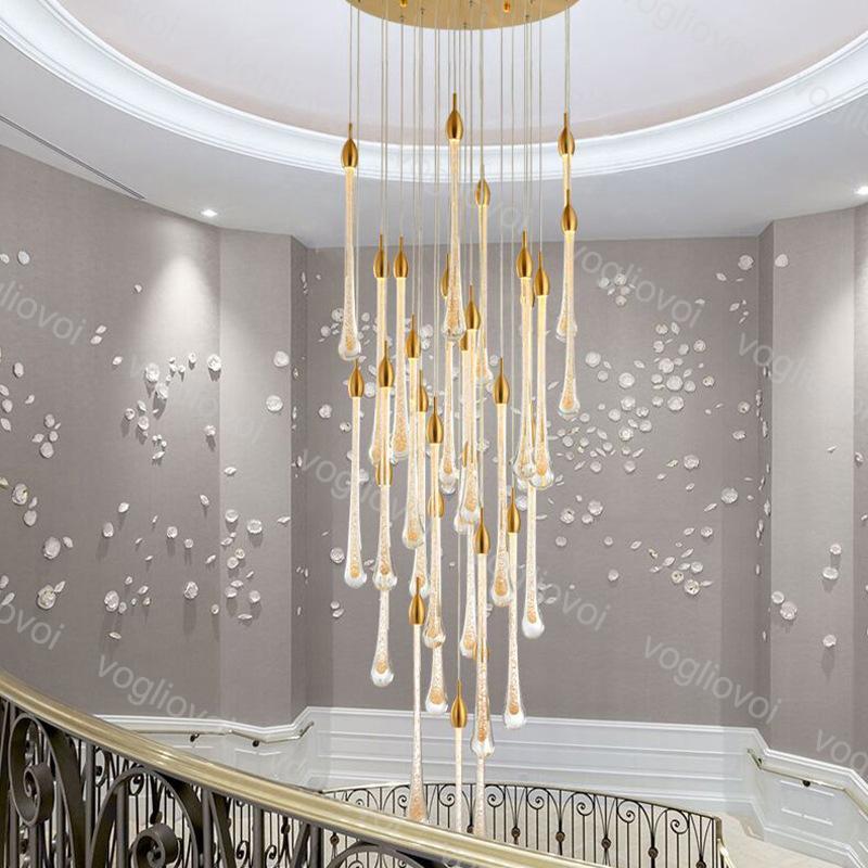 Kristal Avize Aydınlatma Cam Topu Ile Altın Kabarcık 85-265 V 3500K 6500K Kapalı Merdiven Bar Için Droplight Oturma Odası Koridor Otel Lobisinde DHL