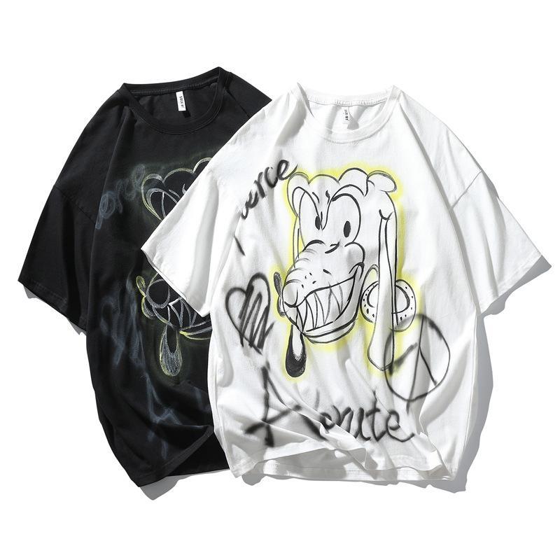 Siyah Beyaz T Gömlek Erkekler Komik Karikatür T Gömlek Rahat Serin Streetwear Tshirt Çift Hip Hop Üst Tee Erkek 2021