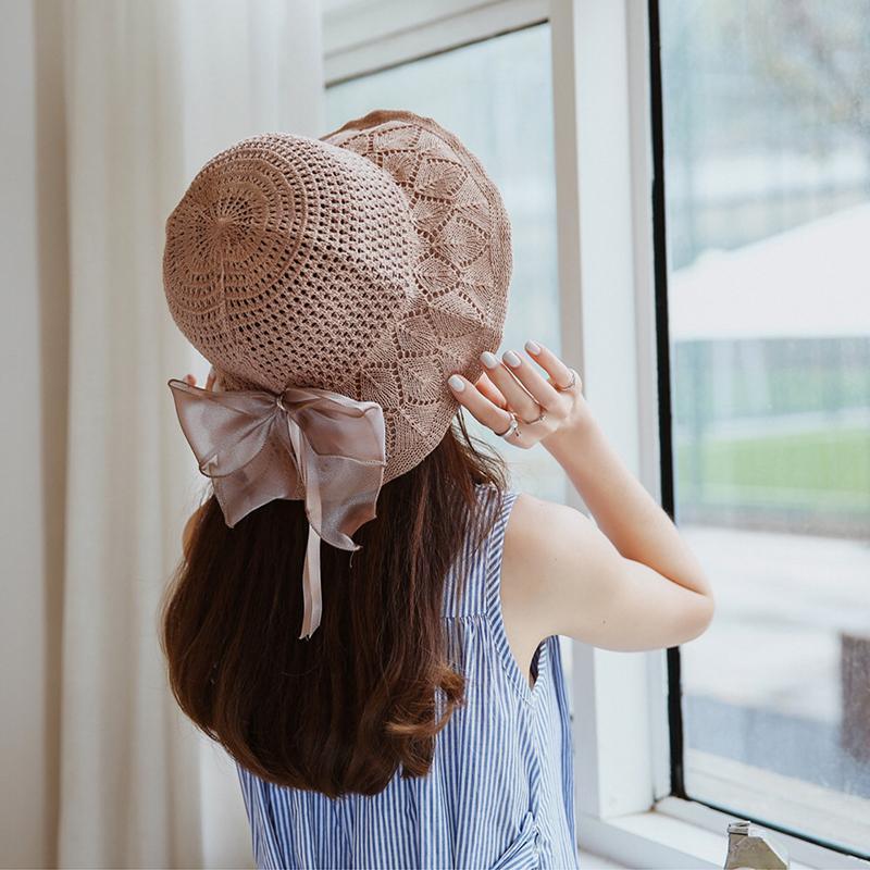 Breite Krempe Hüte Frauen Sommer Sonne Strand Panama Eimer Strohhut Gefaltet Outdoor Freizeit Urlaub Bowknot Cap Visiere