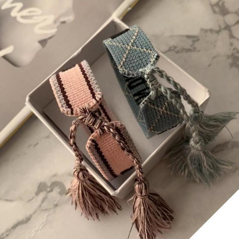 Лучшие бренд ткани женские хлопковые ювелирные изделия буква подпись ручной работы ручной работы браслет браслет с коробкой