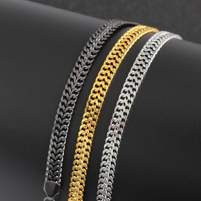 Charm Bracelets Elegant /Black/ For Men Women 7mm Titanium Steel Curb Cuban Link Chain Party Jewelry Gift 3362 Q2