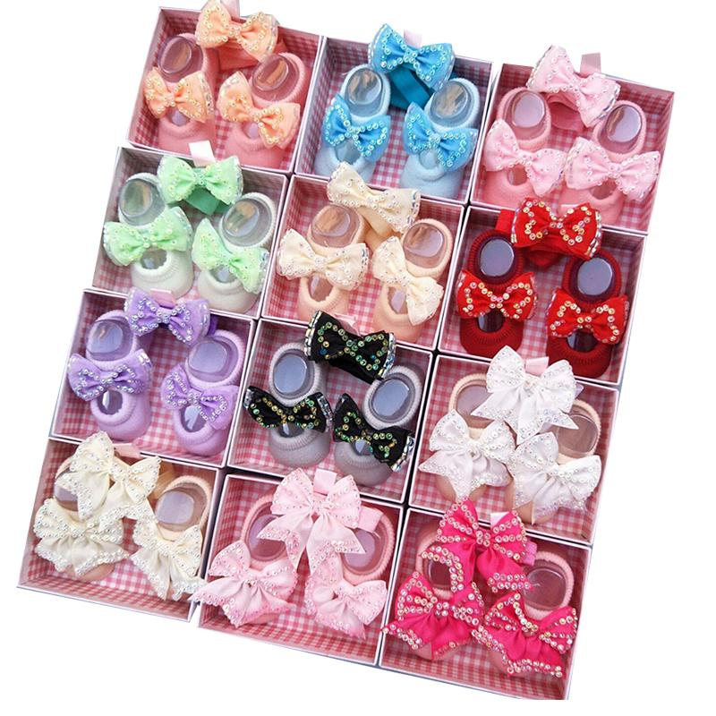 Baby Headband+Socks Cute Bows Girl Socks Headbands Infant Girls Hairs Band Hairband 1 years old kids Hair Accessories Set