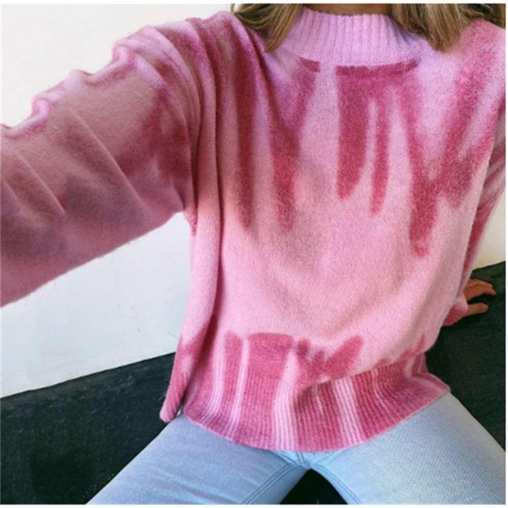 Осень и зима 2020 новая женская одежда горячая распродажа Ins net красный мода британский стиль твердого цвета граффити розовый свитер