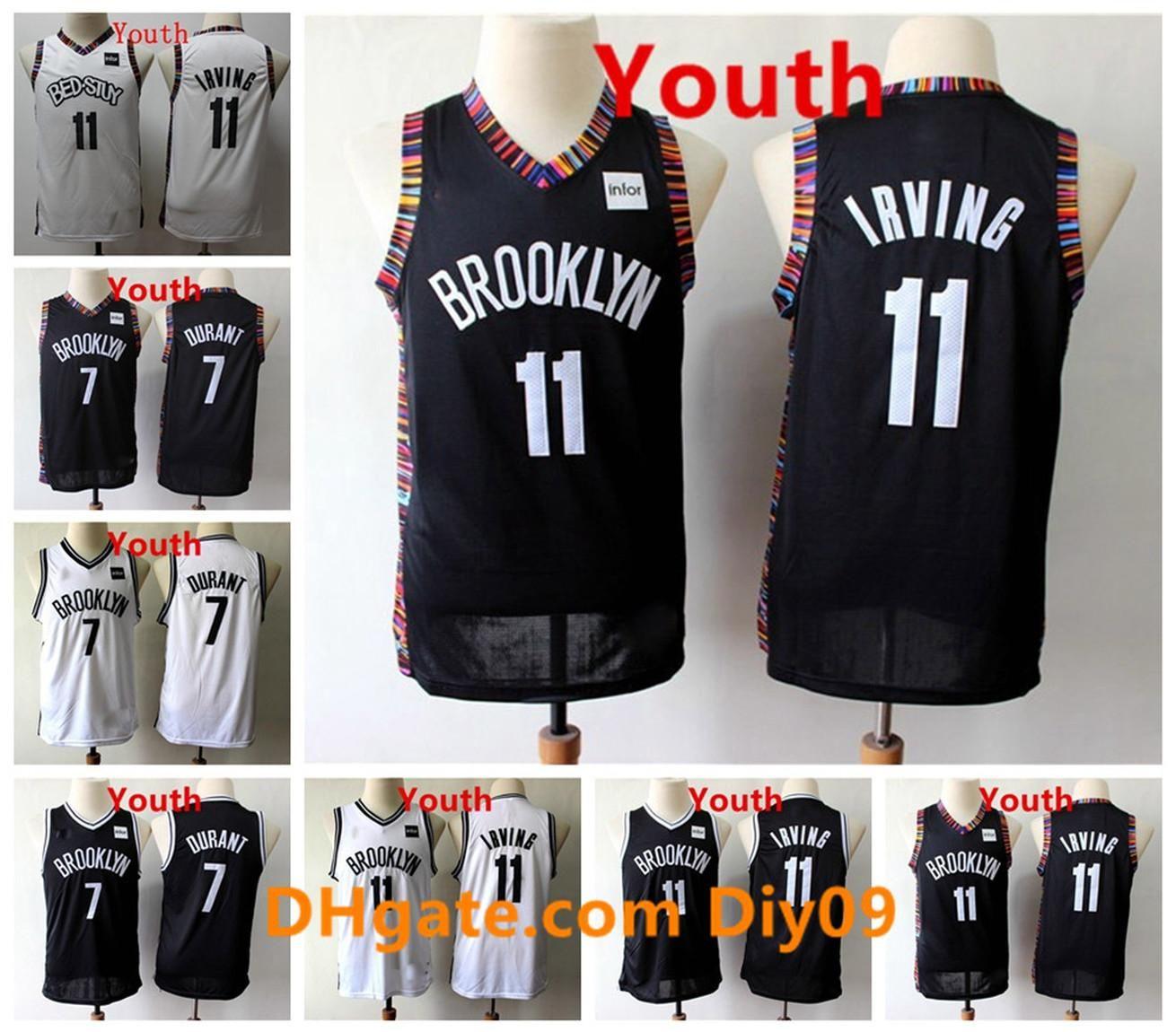Çocuklar 11 Kyrie Irving Jersey Siyah Beyaz 7 Kevin Durant Şehir Yeni Baskı Dikişli Gençlik Vintage Basketbol Formaları