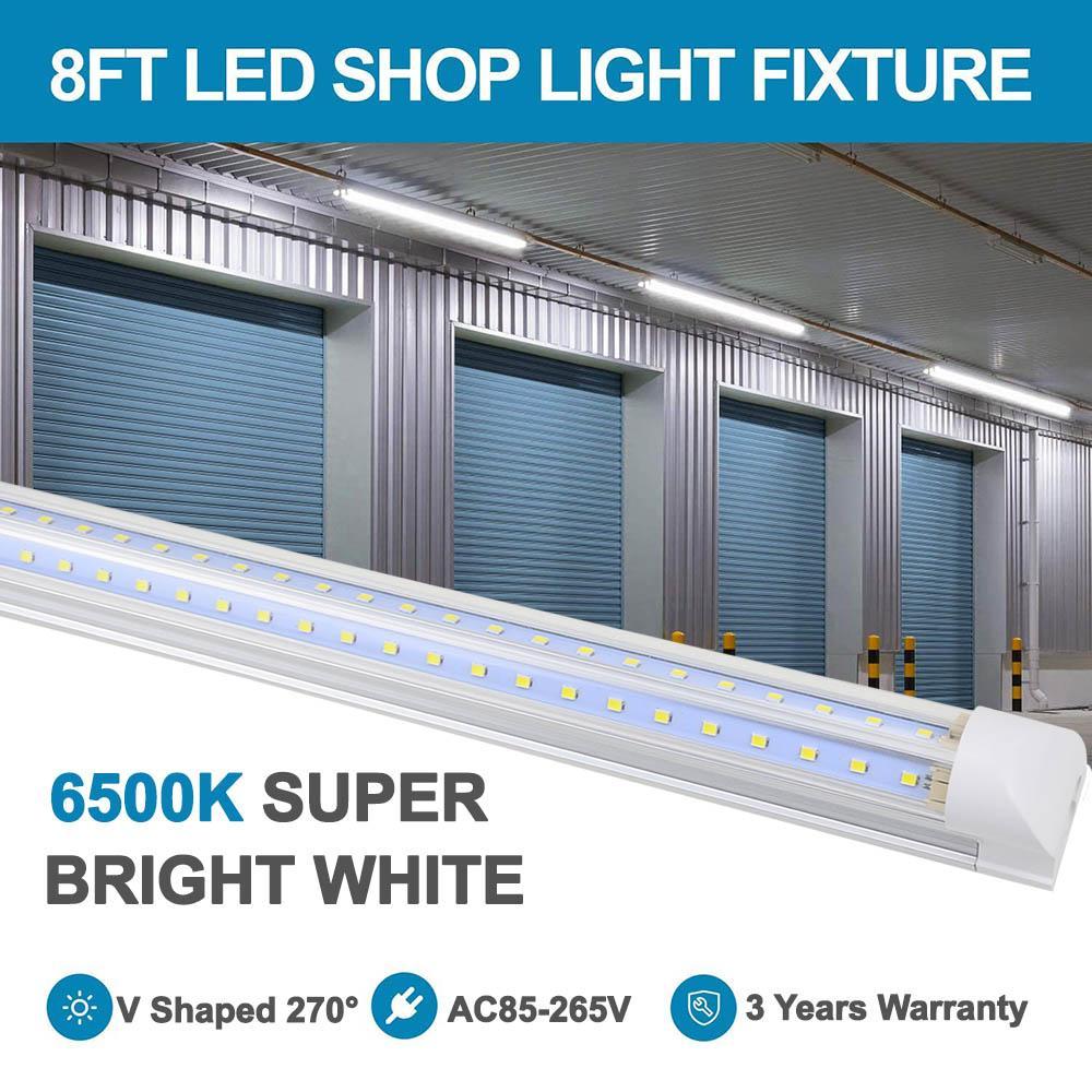 8FT LED 튜브, 샵 라이트 픽스처, V 모양, 클리어 커버, Hight 출력, 6000K, 차가운 흰색, 연결 가능한 조명, 차고 용 T8 튜브 조명
